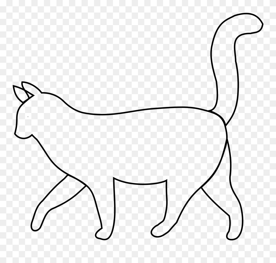 White Cat Outline Clip Art Cartoon Cat Side View Png Download 4168 Pinclipart