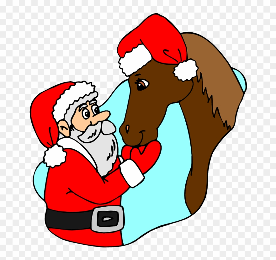 Christmas Horse Cartoon.Christmas Horse Clip Art Horse With Santa Png Download