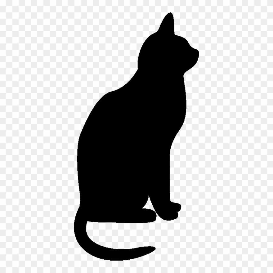Cat black. Clipart and white silhouette