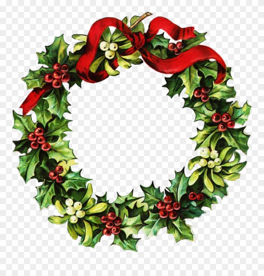 Watercolor Christmas Wreath Png.Vintage Christmas Wreath Png Clipart 6408 Pinclipart