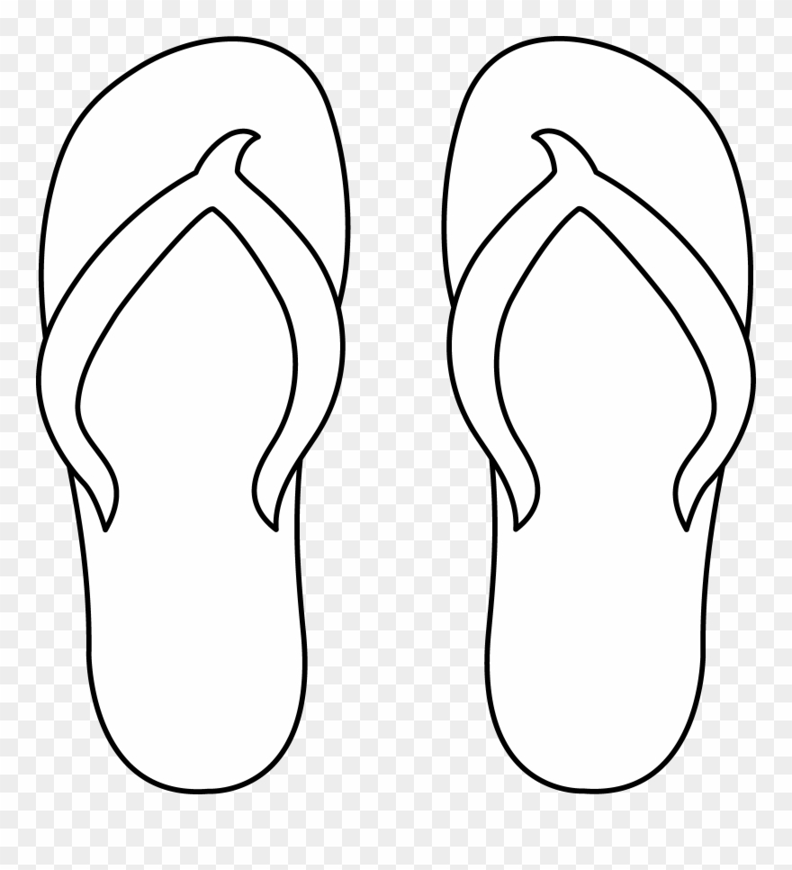 Flip flop clip art black flip flop for coloring png download