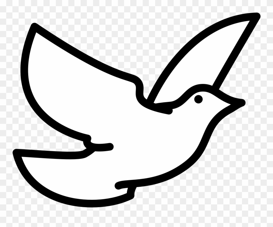 Holy Spirit Dove Clipart Black And White Flying Line Bird Flying