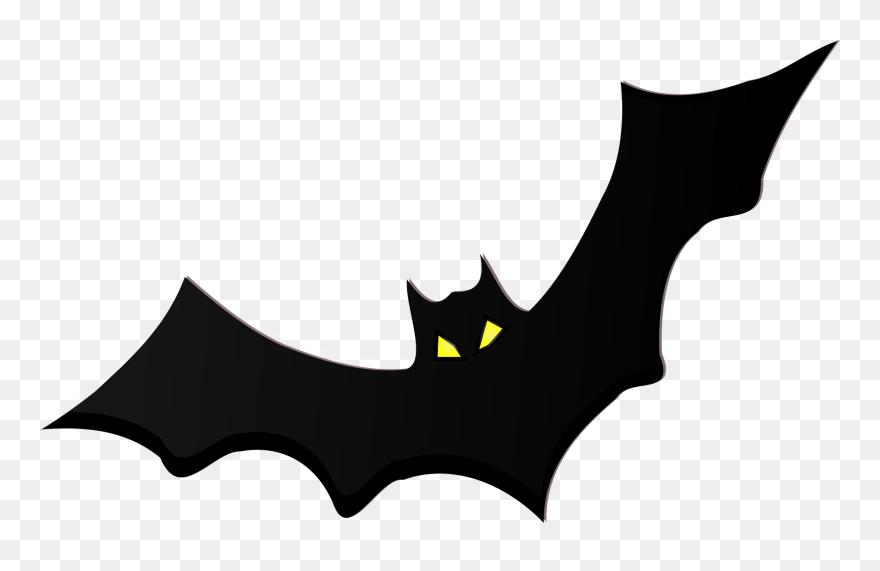 Bat real. Black silhouette yellow eyes