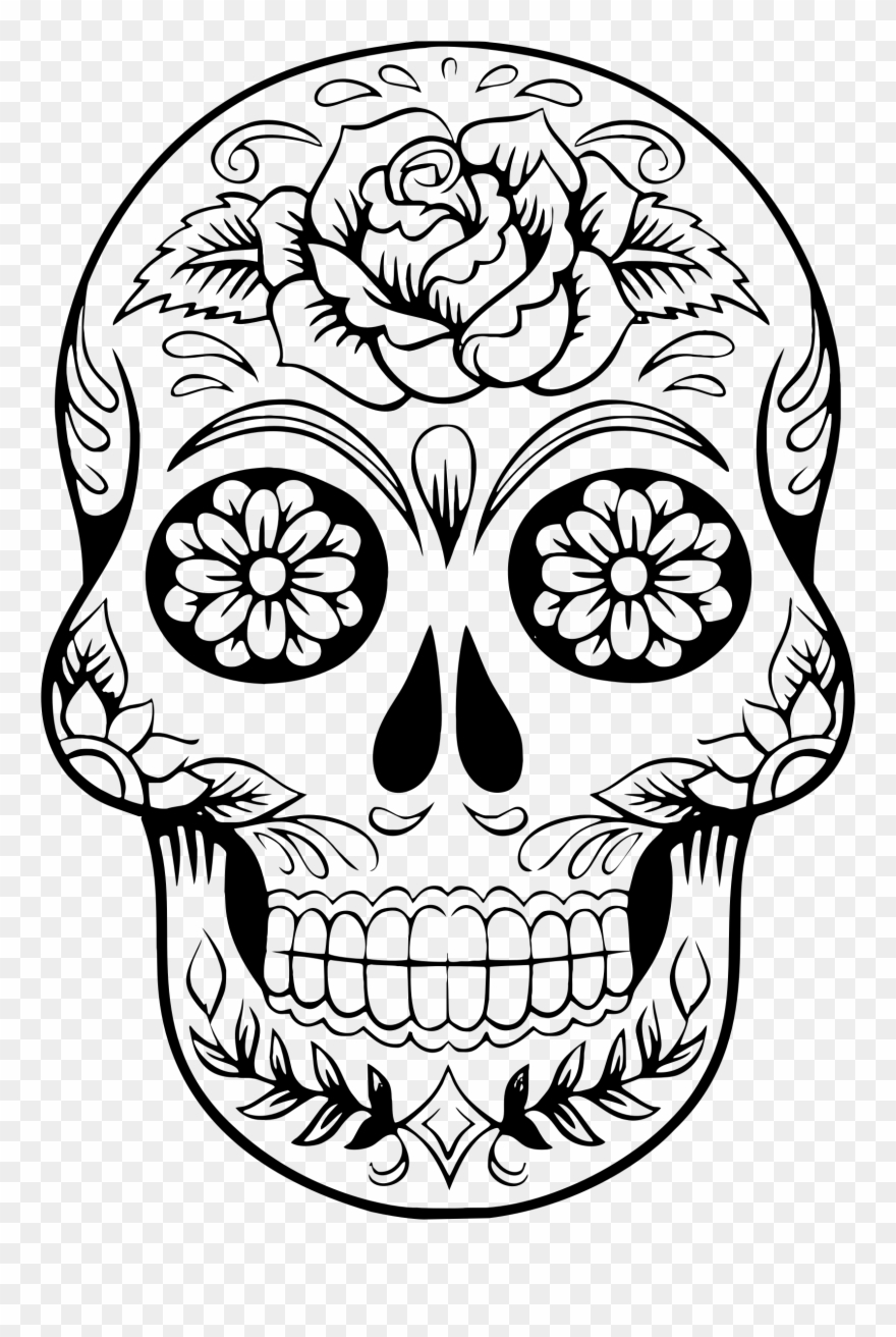 Anatomy Clipart Book Skull - Coloring Page Day Of The Dead - Png