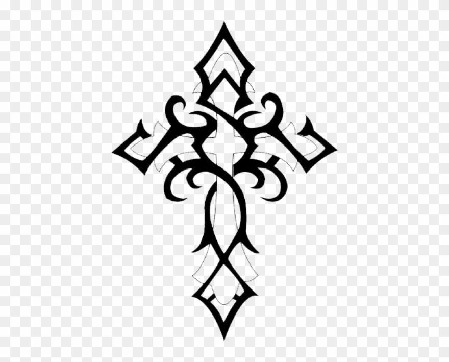 f71b457a345db Cross Tattoos Clipart Transparent Background - Tribal Cross Tattoo - Png  Download