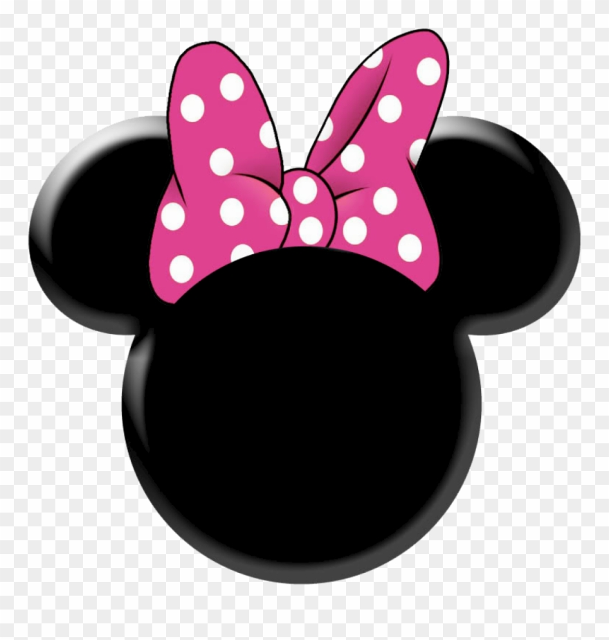 Minnie mouse silhouette. Face outline pink clipart