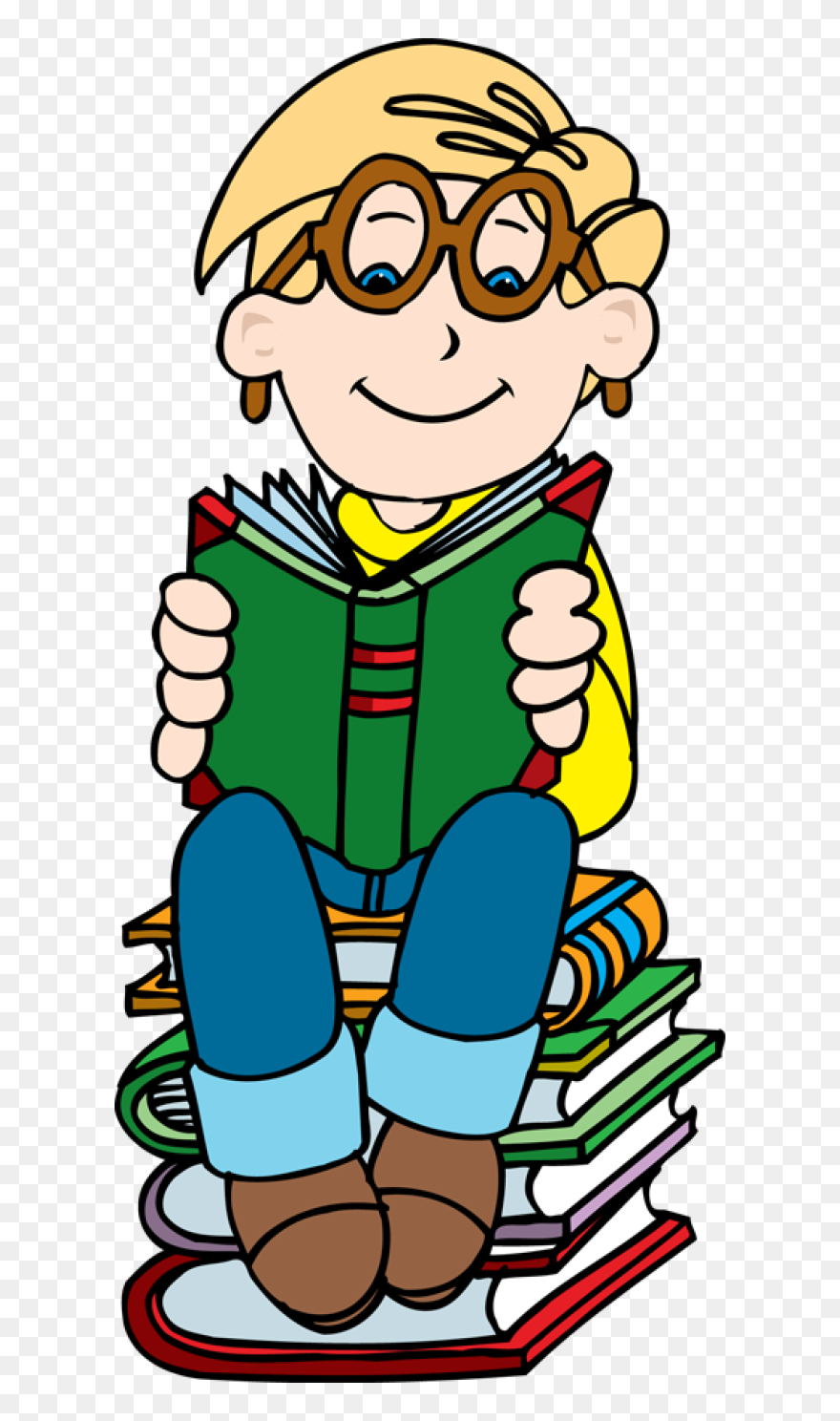 Girl Reading Book Clip Art Free Clipart Boy Reading Book Png Download 17936 Pinclipart