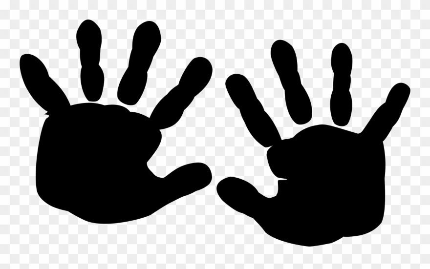 Silhouette Finger Printing Hand Black Baby Hands Clipart
