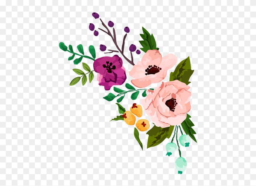 Floral Clipart Rustic Flower - Flower Watercolor Vector ...