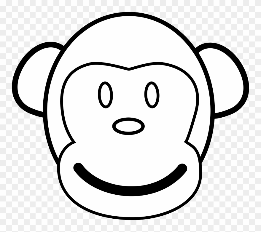 Monkey Line Art Free Vector 4vector Monkey Face Clip Art Black And