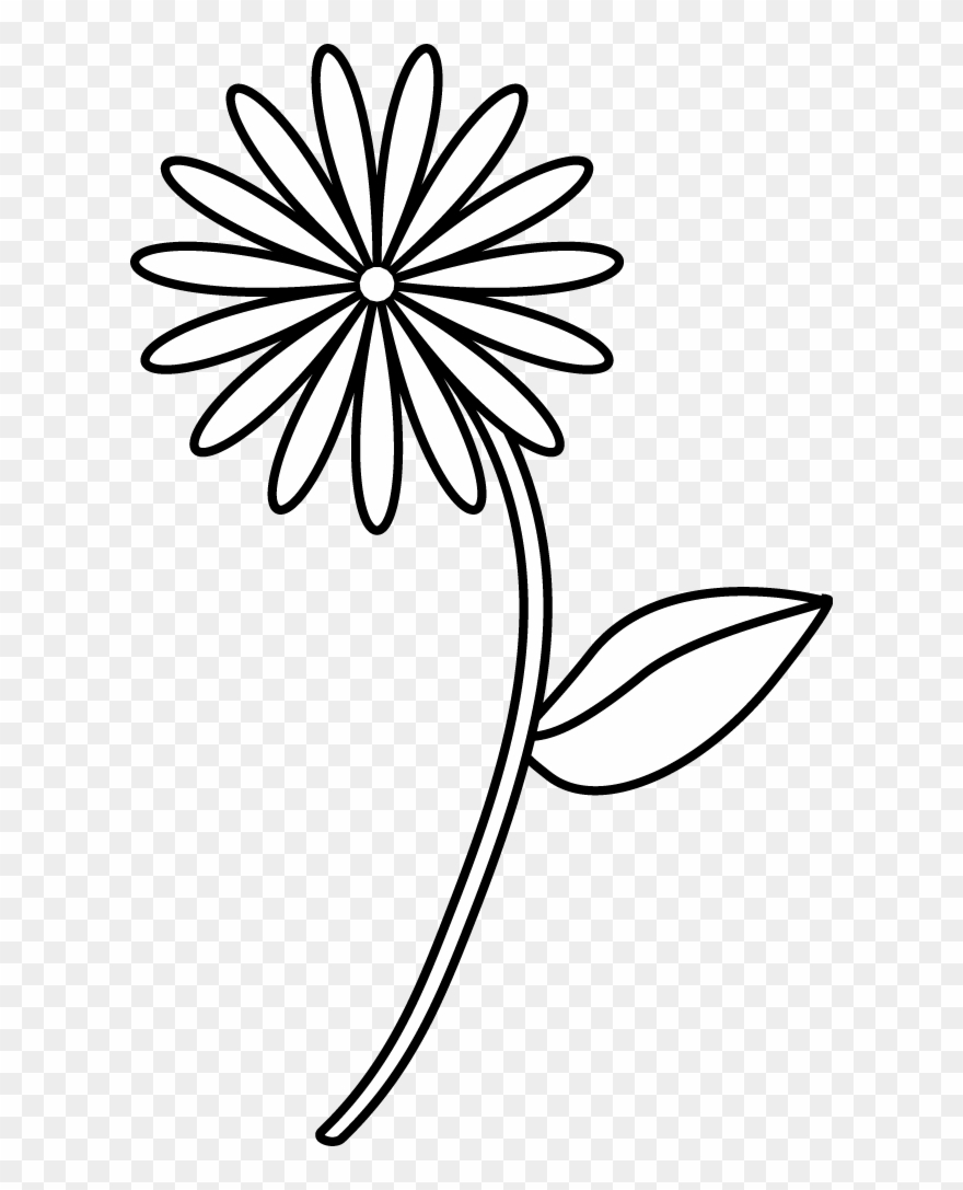 Simple Flower Drawings Simple Line Drawing Of A Flower Clipart 116610 Pinclipart