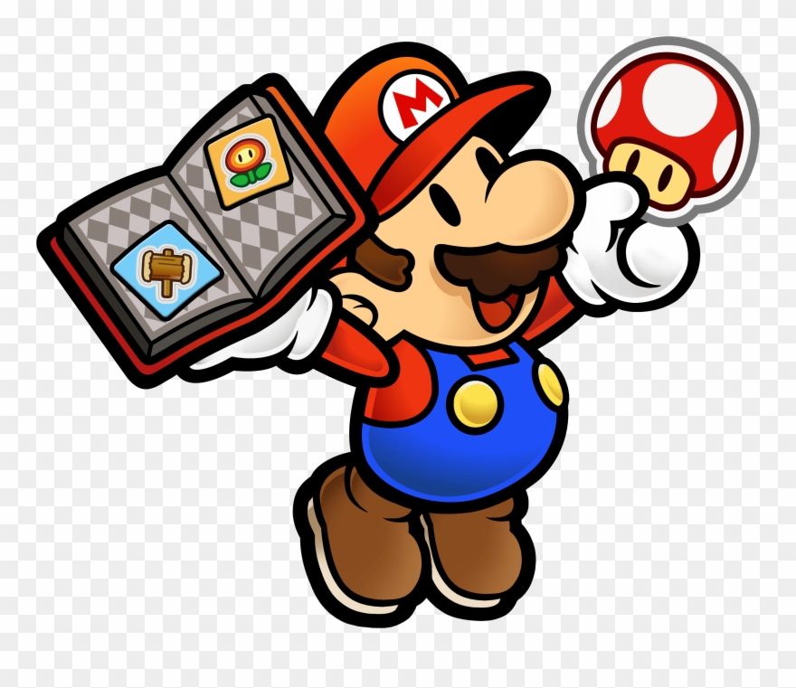 Mario Holding A Book Of Stickers And A Mushroom Nintendo Selects