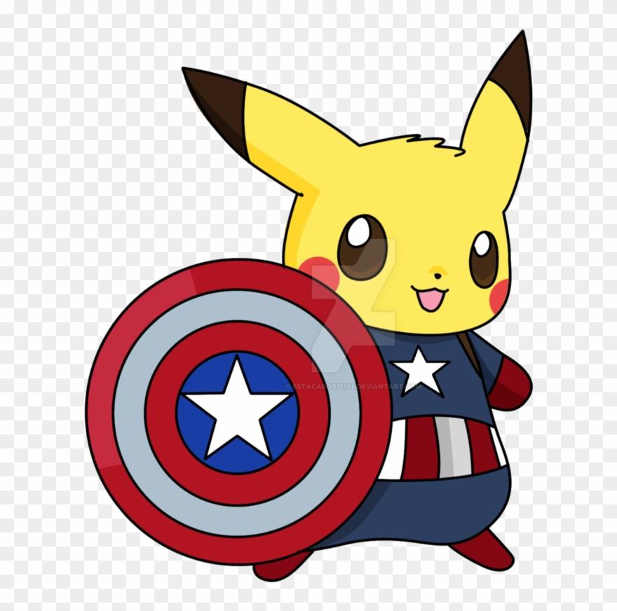 Captain America Clipart Team Captain - Captain Pikachu White