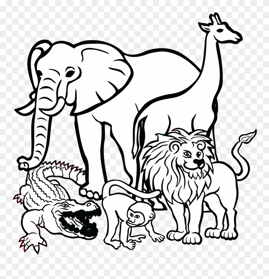 Free Clipart Of African Animals Animals Clipart Black And White Png Download 1121922 Pinclipart