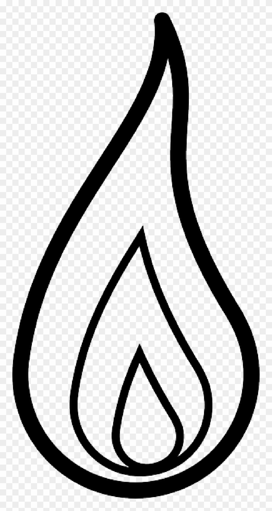 Flame outline. Drawn candle clipart png