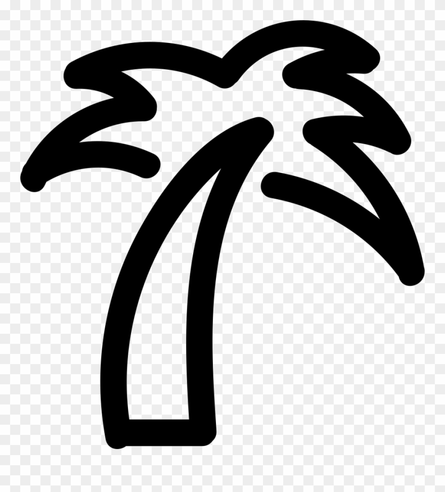 Palm tree outline. Icon png clipart
