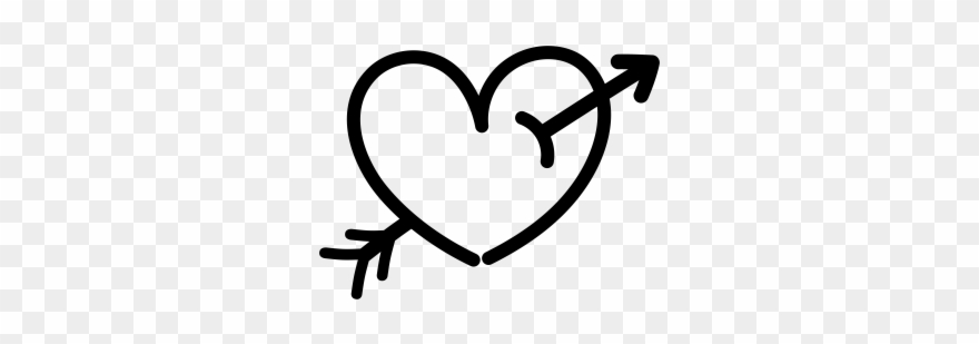 Hand Drawn Heart With Arrow Clipart 1157949 Pinclipart