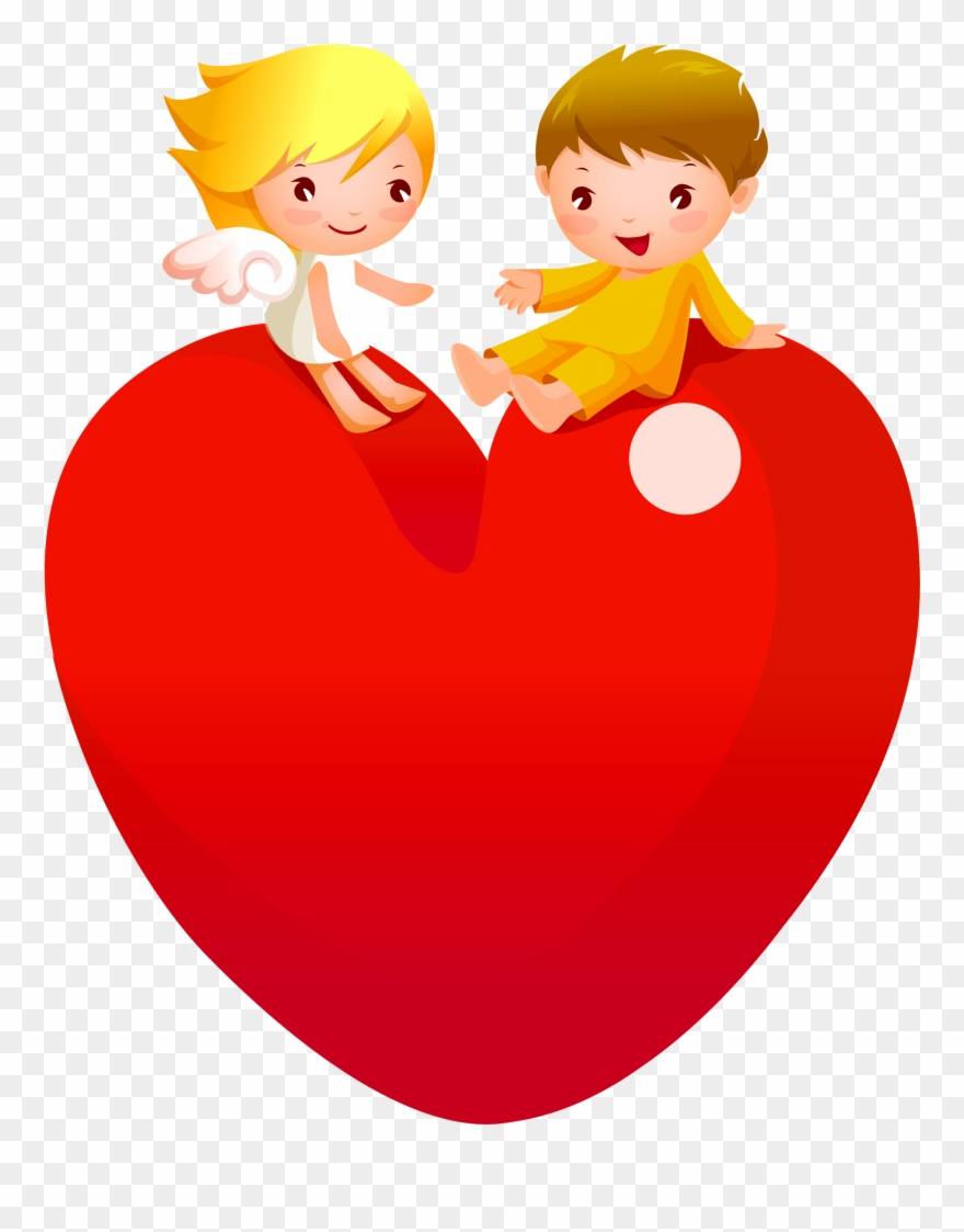 Red Heart With Angels Png Lady A Cartoon Love Couple Whatsapp Dp