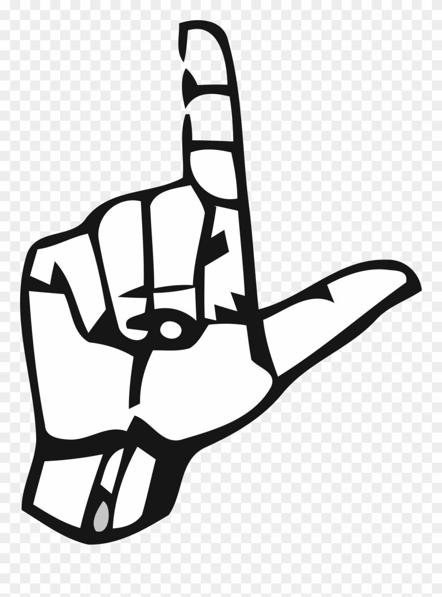 Big image letter l in sign language clipart