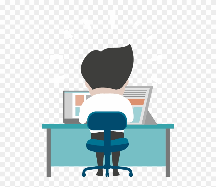 Cartoon Man Working At Desk Clipart 1178395 Pinclipart