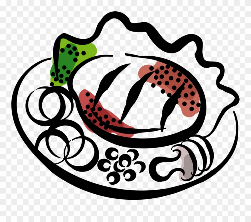 Vector Illustration Of Roast Beef Steak Dinner On Plate Clipart