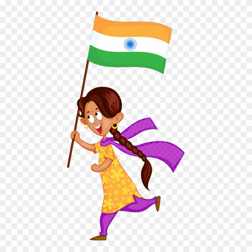 India Wedding Illustration, School Projects, Clip Art, - Girl With A Indian Flag Animation - Png Download