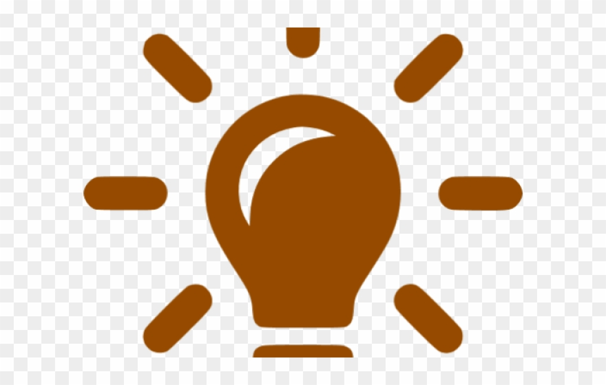 Bulb Clipart Orange Light Icon Brown Png