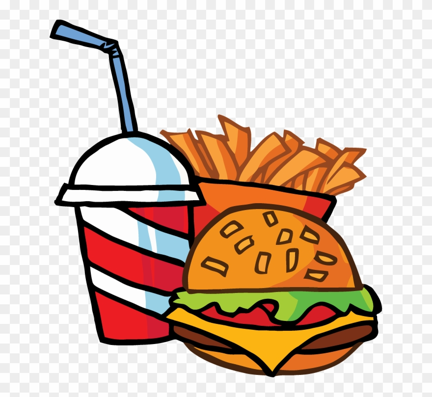 Fast Food Cheeseburger Drink With French Fries Tattoo - Burger And Fries Clipart - Png Download