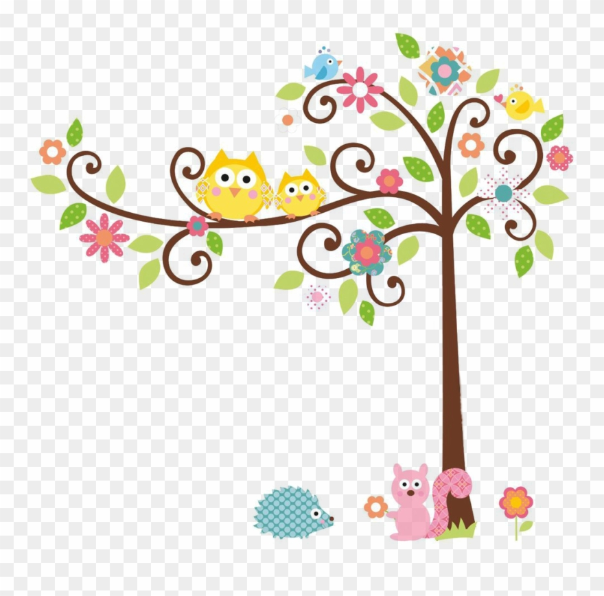 Cute Owl On Tree Clipart Rigybdoil Copy Colorful Owl On Branch