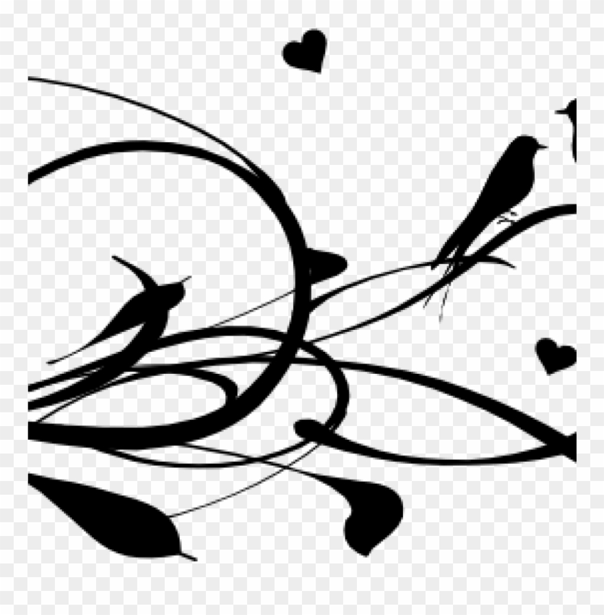 Love Birds Clipart Love Birds On A Branch Clip Art Love Birds Vector Black And White Png Download 1209179 Pinclipart