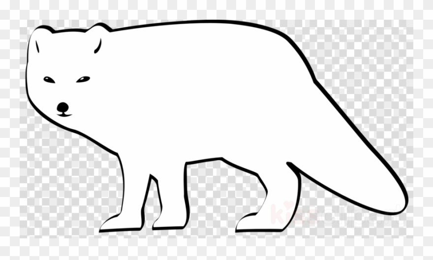 Arctic fox. Black and white clipart