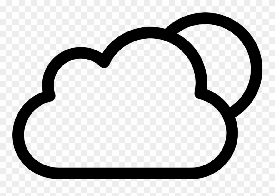 Cloudy Night Weather Symbol Of Cloud And Moon Svg Png - Cloud Icon Weather Png Clipart