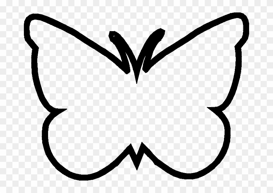 Butterfly outline black. Template clipart library clip
