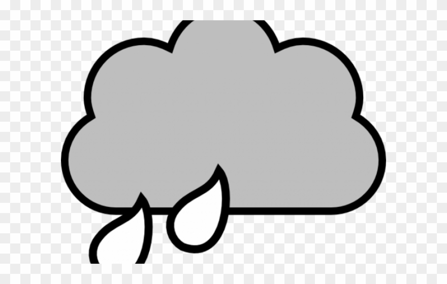 Clouds Clipart Outline - Rain Cloud Clipart Black And White
