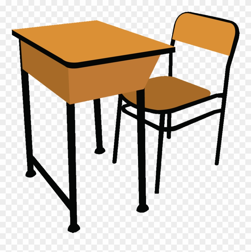 Classroom desk. Table and chairs clip