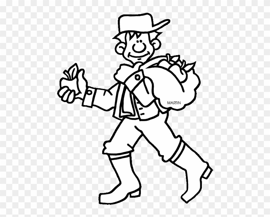 Johnny Appleseed Coloring Page Black And White Rhpinclipart: Free Johnny Appleseed Coloring Pages At Baymontmadison.com