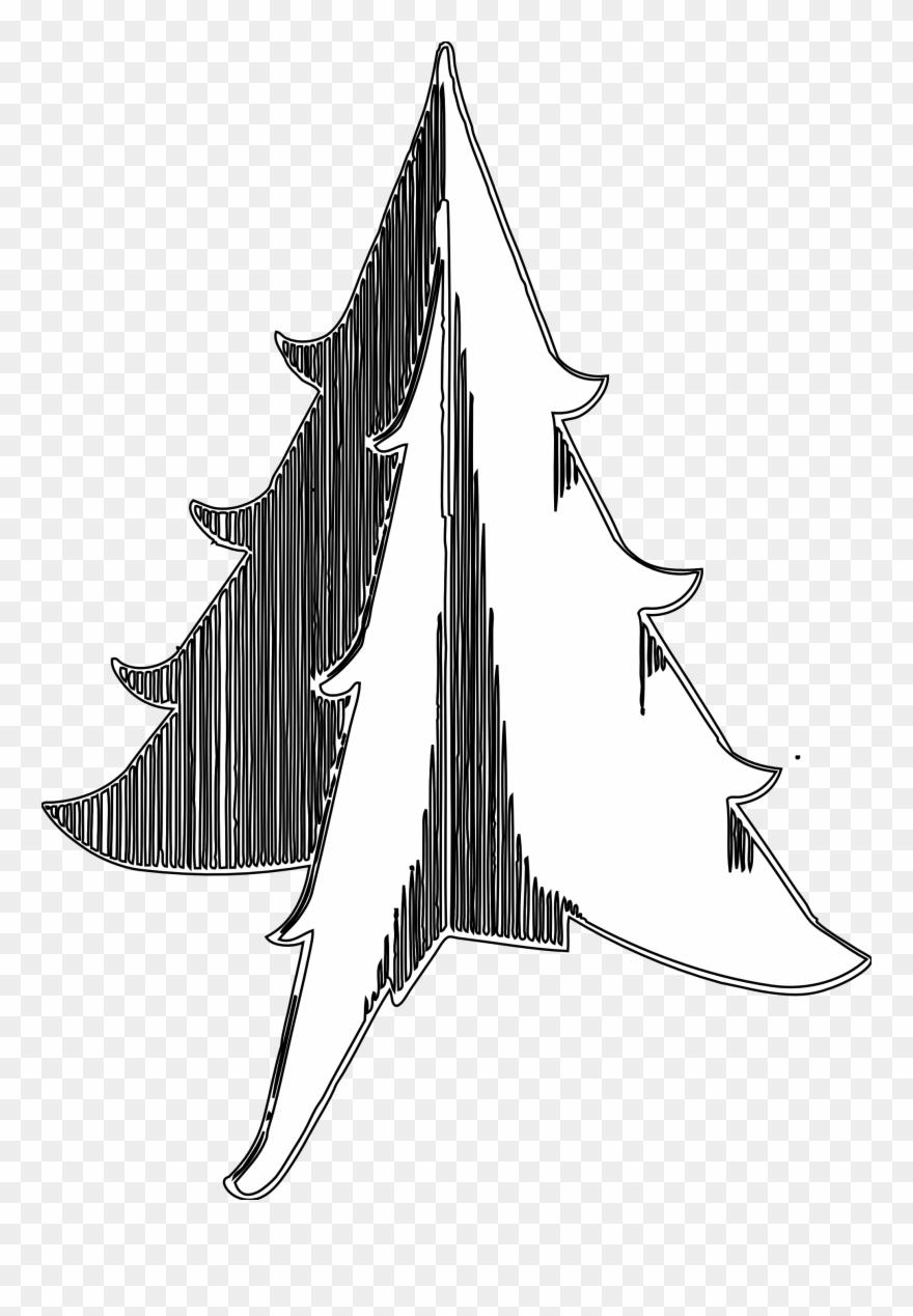 Christmas Tree 1 Black White Line Art Tatoo Tattoo Illustration