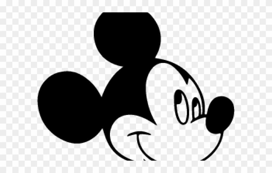 X white. Mickey mouse head silhouette