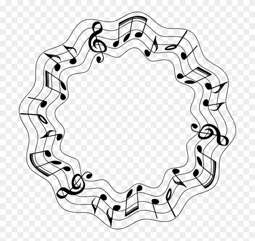 Musical Note Sound Circle Clef - Music Notes Circle Png