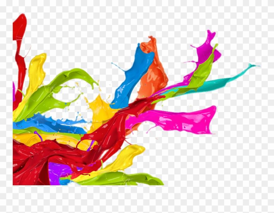 Paint splatter colorful. Left corner footer change