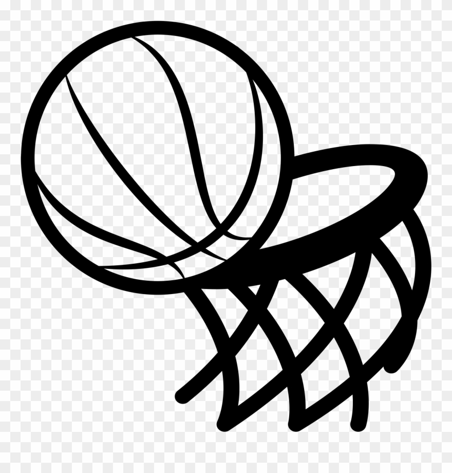 Graphic Freeuse Basketball Hoop Black And White Clipart