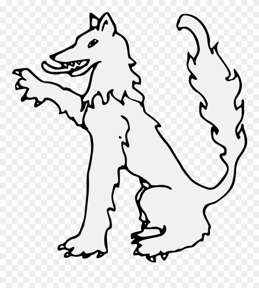 Wolf Sejant Dexter Paw Raised Traceable Heraldic Art - Line