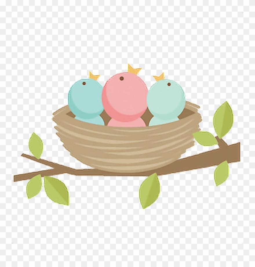 Bird Birds Kawaii Tumblr Ftestickers Bird Nest Clipart Png