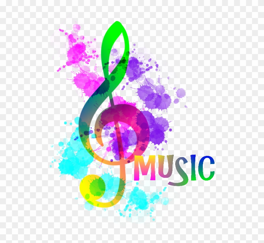 Music notes rainbow. Clipart funky treble clef