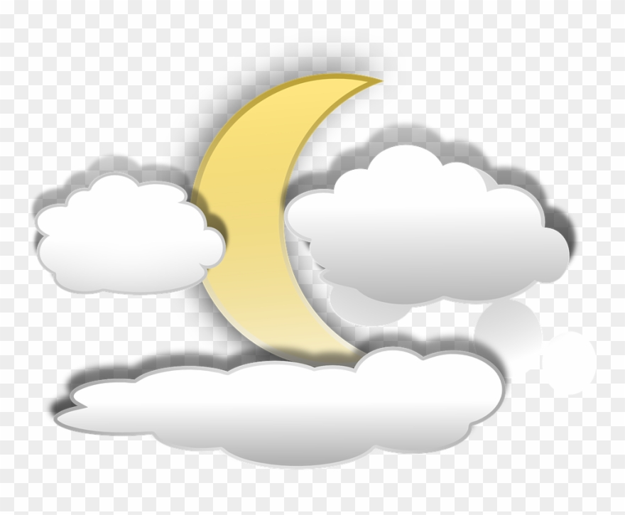 Cartoon Clouds 21, Buy Clip Art - Moon And Clouds Cartoon - Png Download