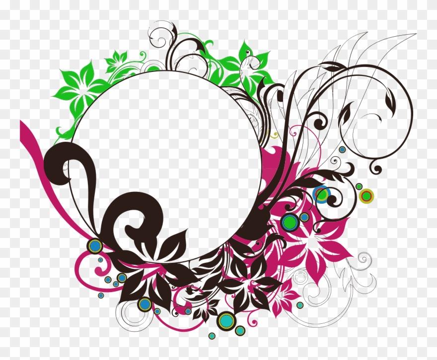 Clipart Floral Flourish Round Frame Wedding Clip Art Circle Flower