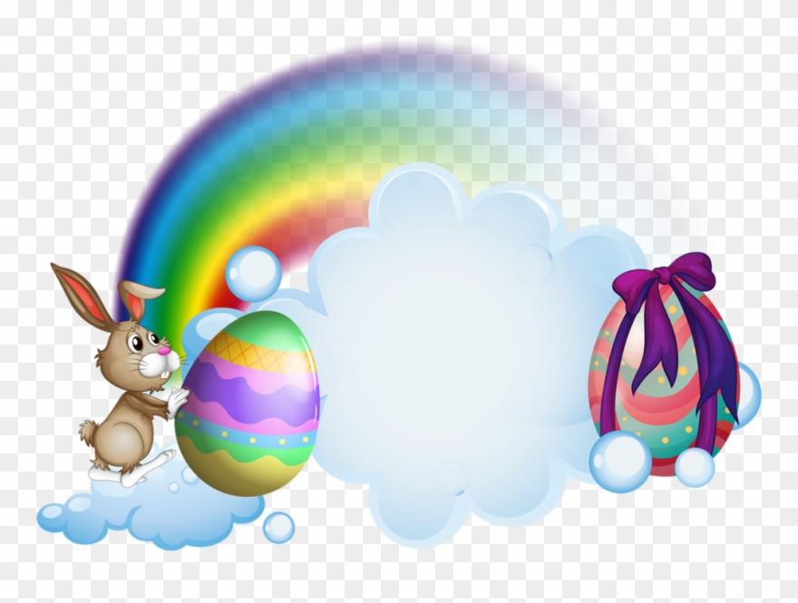 Tube Pâques Lapin Png Oeufs Nuage Arc En Ciel Easter