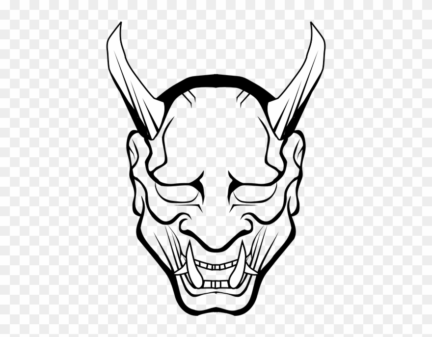 Vector Halo Devil Horn - Oni Mask Black And White Clipart