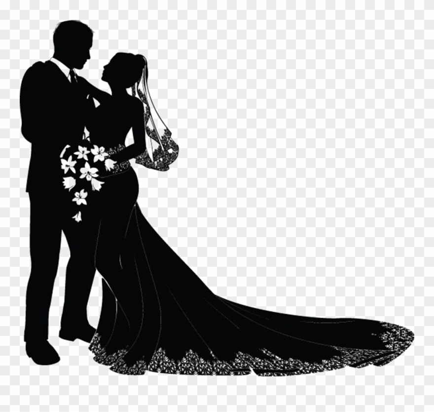 Wedding Invitation Bridegroom Clip Art - Wedding Couple Silhouette Png Transparent Png