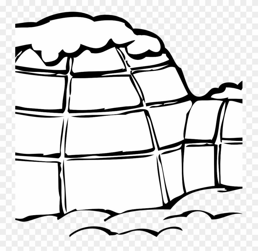 Small Size - Black And White Clip Art Igloo - Png Download